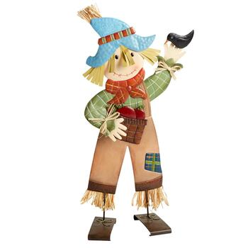 "24"" Boy Scarecrow with Bird Standing Metal Decor"