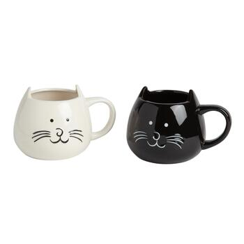 "16-Oz. ""Crazy Cat Lady"" Black and White Kitty Mug Set, 2-Piece"