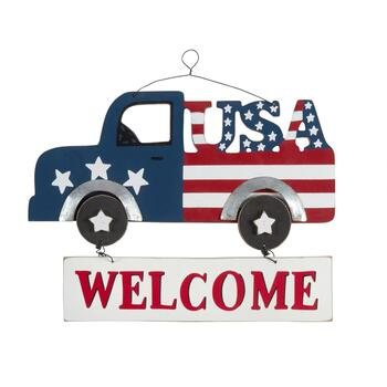 "14"" ""Welcome"" Stars and Stripes Truck Wall Hanging"