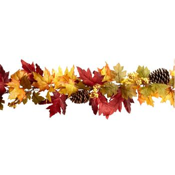 6' Yellow/Red Artificial Leaf Garland