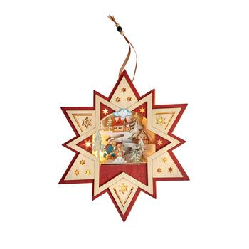 "12"" Winter Wonderland LED Wood Star Ornament"