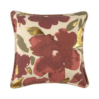 Red Flower Embellished Square Throw Pillow