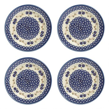 Polish Pottery Floral Chain Dinner Plates, Set of 4