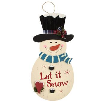 "22"" ""Let it Snow"" 3D Wood Snowman Hanger"