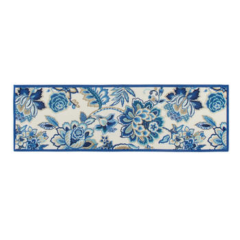 Waverly® Blue Floral Print All-Weather Area Rug view 3