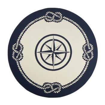 Navy Blue Compass Rope Border All-Weather Rug view 2 view 3