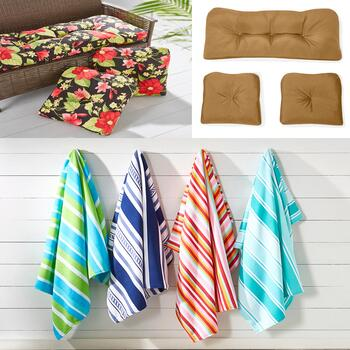 3-Piece Indoor/Outdoor Cushion Sets and Beach Towels For Two