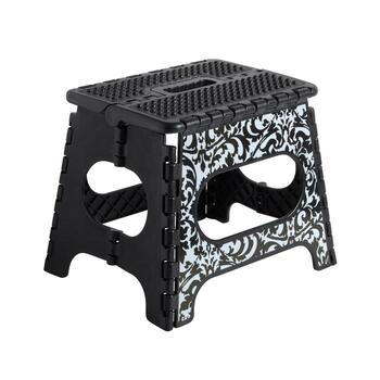 Black/White Floral Folding Step Stool view 1