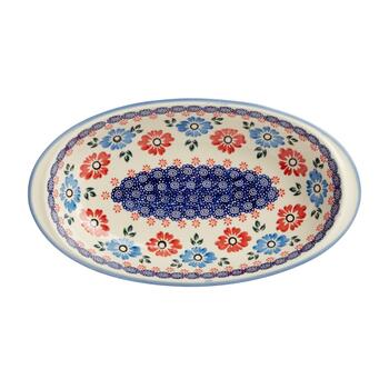 Polish Pottery Floral Oval Vegetable Bowl