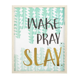 "17""x21"" ""Wake. Pray. Slay."" Gold Foil Framed Wall Decor view 1"