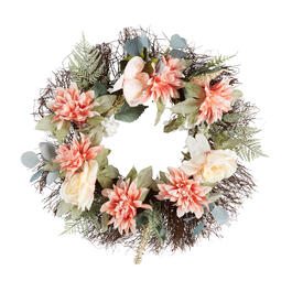 "22"" Dahlia Blossom Artificial Wreath view 1"