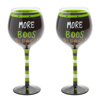 """More Boos Please!"" Hand-Painted Wine Glasses, Set of 2 view 2"
