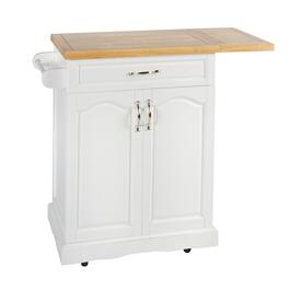 "36"" 1-Drawer/2-Door Rolling Kitchen Island with Folding Shelf"