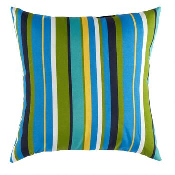 Blue/Green Striped Indoor/Outdoor Square Throw Pillow