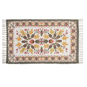 "27""x45"" Orange/Pink/Green Floral Print Accent Rug"