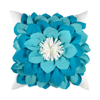 Blue/White Flower 3D Indoor/Outdoor Square Throw Pillow view 1