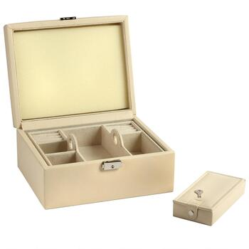 Somerset Cream Faux Leather Jewelry Box