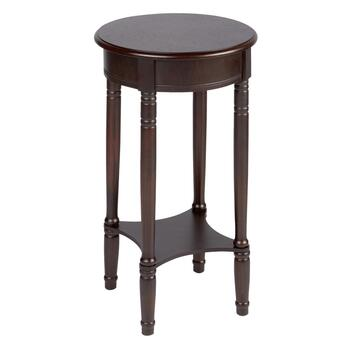 Dark Brown Round Accent Table with Shelf