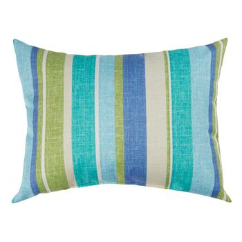 Green/Blue Striped Indoor/Outdoor Oblong Throw Pillow