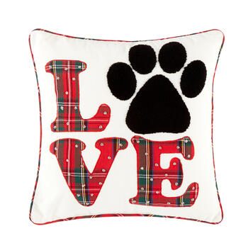"Plaid ""Love"" Paw Print Square Throw Pillow view 1"