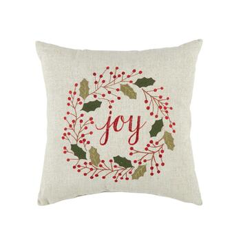 """Joy"" Holly Square Throw Pillow"