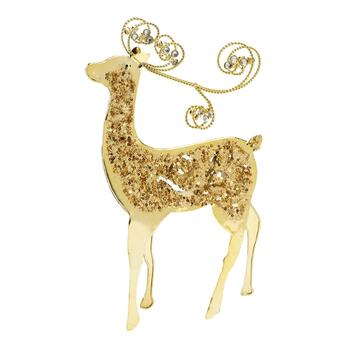 "14.5"" Shiny Scroll Reindeer Decor"