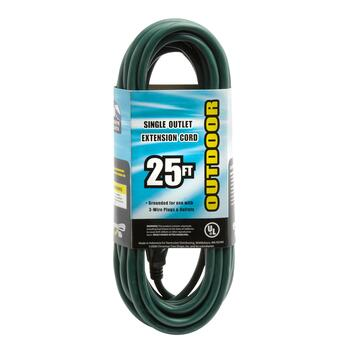 25' Single Outlet Outdoor Extension Cord