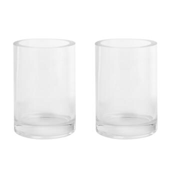 "6"" Thick-Walled Round Glass Vases, Set of 2"