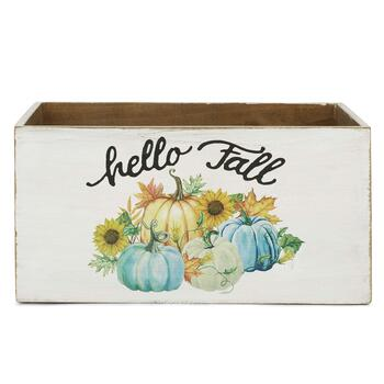 """Hello Fall"" White Pumpkin Medium Typography Storage Crate view 1"