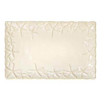 Starfish-Embossed Rectangular Serving Platter