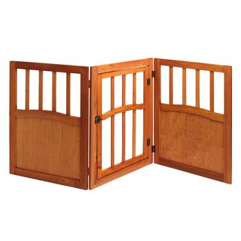 Solid Wood Folding Scroll Pet Gate with Door view 2