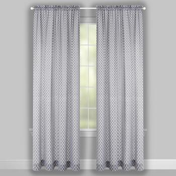 "Traditions by Waverly® 84"" Gray Moroccan Rod Pocket Window Curtains, Set of 2 view 2"