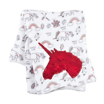 Unicorn Sequin Applique Plush Throw view 1