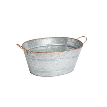 Oval Metal Party Bucket with Copper Rim