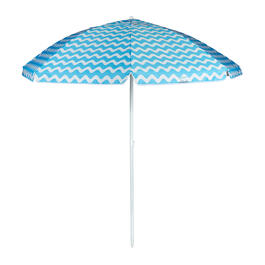 7' Blue Zigzag Striped Beach Umbrella view 1