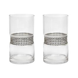 "7"" Rhinestone-Studded Glass Vases, Set of 2"