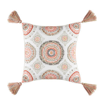 Pink Medallion Square Throw Pillow view 1