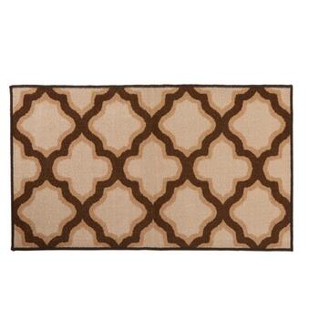 "27"" x 45"" Brown Quatrefoil Print Accent Rug"