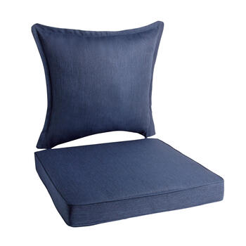 Solid Dark Blue Woven Indoor/Outdoor Deep-Seat Chair Pads Set, 2-Piece view 1