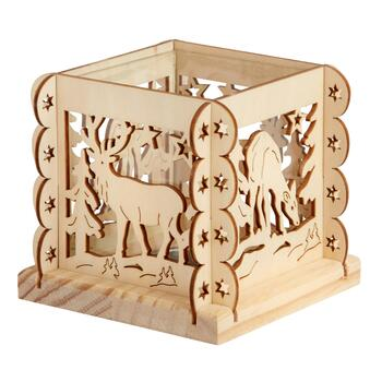 "4.25"" Reindeer in the Woods Cutout Wooden Tealight Holder"