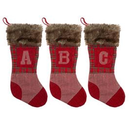 Knit Patchwork Monogram Stocking with Faux Fur Cuff