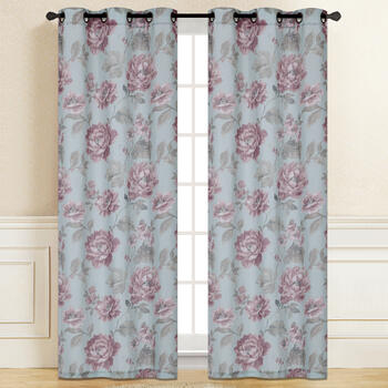 "84"" Pink Flowers Grommet Top Window Curtains, Set of 2 view 2"