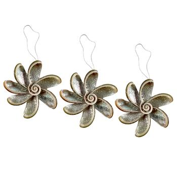 Flower Clam Shell Ornaments, Set of 3