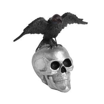 "11.5"" Silver Skull and Crow Decor"