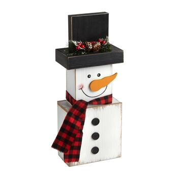 "18.75"" Stacked Blocks Wood Snowman"