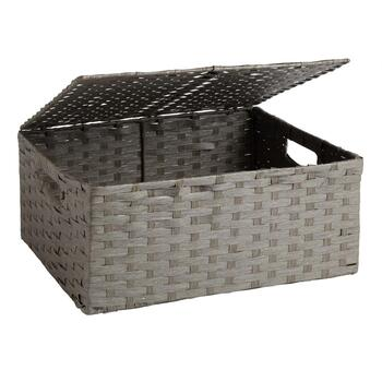 Paper Weave Storage Bin with Hinged Lid