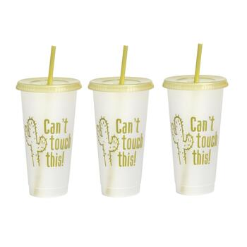 "7"" ""Can't Touch This"" Tumbler To-Go Cups, Set of 6"