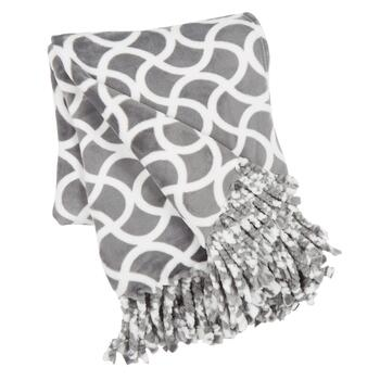 Gray Geo Printed Fringe Throw Blanket
