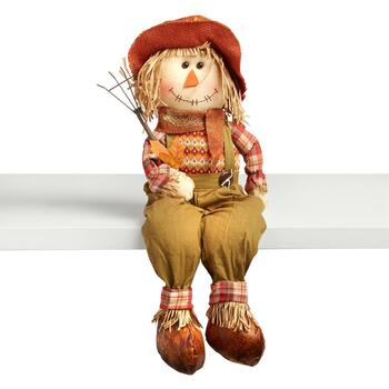 "23"" Sitting Scarecrow Boy with Hat"