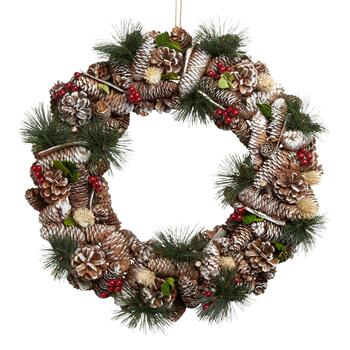 "19"" Snowy Pinecones and Berries Wreath"